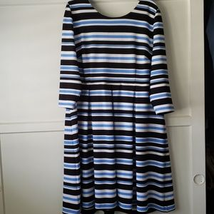 Lane Bryant strip scuba fit and flare dress